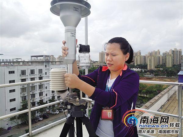 """""""90后""""女汉子谢丽芸:6年来一人负责澄迈县空气监测设备维护"""