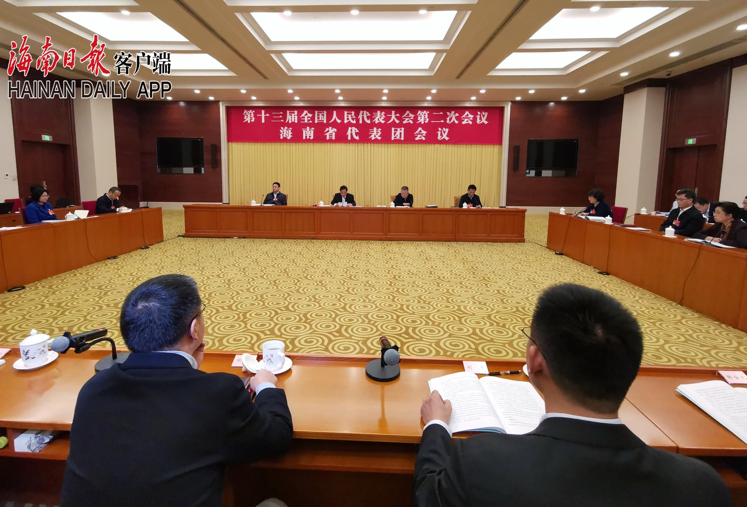 海南代表团举行第一次全体会议 推选刘赐贵为代表团团长 沈晓明、许俊为副团长