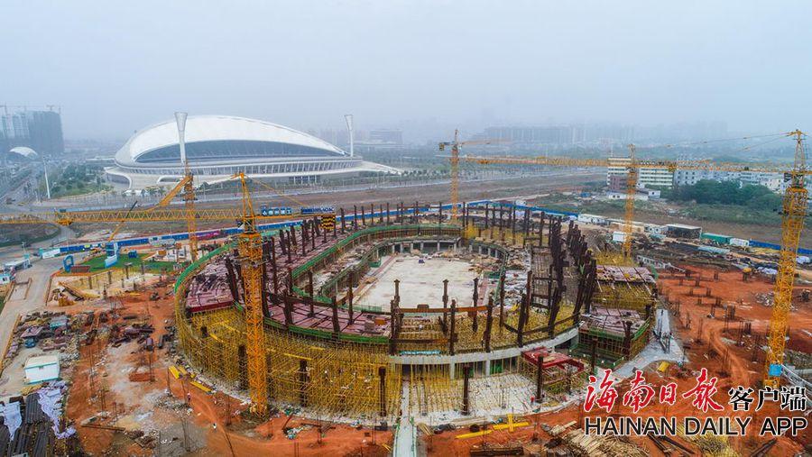 海口五源河文体中心二期项目复工加速建设