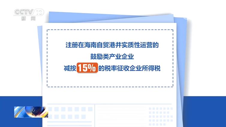 海南自由贸易港发布优惠政策 鼓励类产业企业减按15%税率征收企业所得税