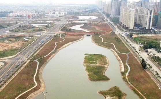 组图 | 海口西海岸南片区一期水系生态修复工程 长滨五路段部分投入使用