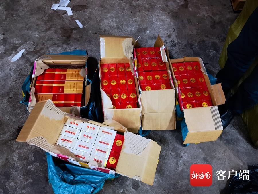 还有两副面孔?海口一物流点内数十个网购包装箱里面全是红塔山、黄金叶香烟