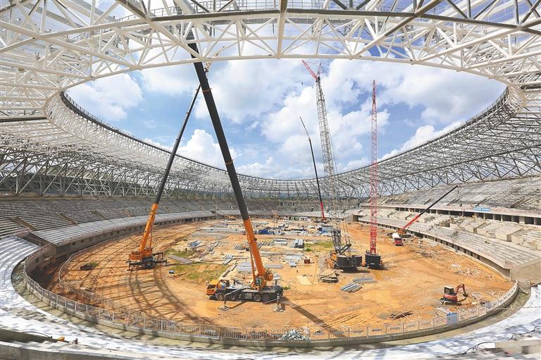 """儋州体育中心""""一场两馆""""项目建设预计今年12月竣工"""