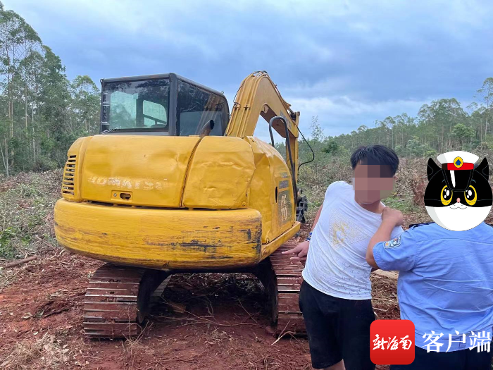 因不满在村里伐木作业 临高两无业青年打砸工地挖掘机被抓获