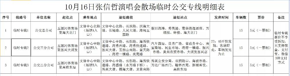 五源河体育场16日举行张信哲演唱会 海口公交开通散场临时专线