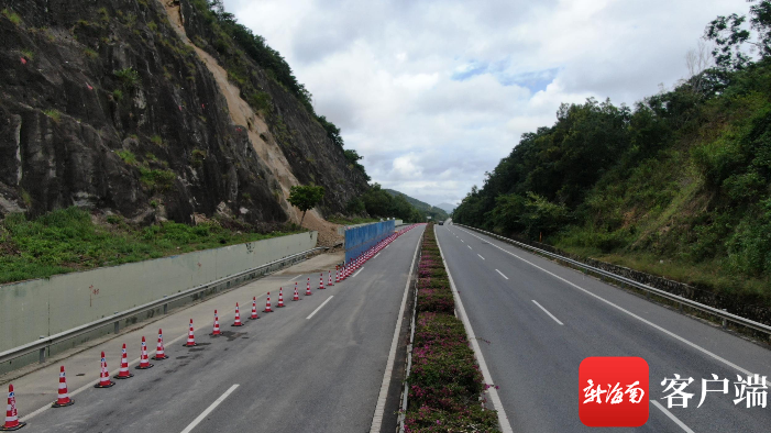G98环岛高速三亚段塌方处恢复通行
