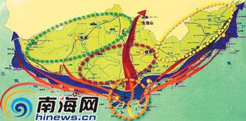 旅游空间布局:   一头,二翼,一脊,一体   根据规划,大三亚旅游图片