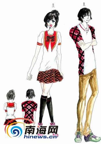 手绘校服款式图