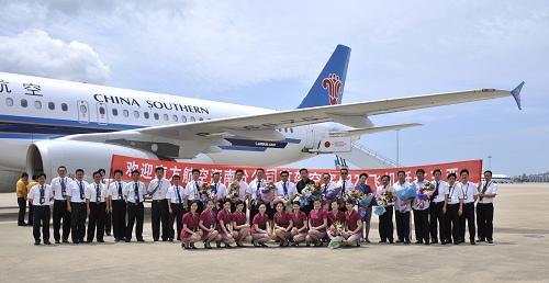 2009年6年4日南航首架a320飞机落户海南三亚凤凰机场图片