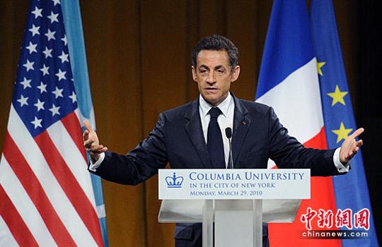 萨科齐在美国纽约的哥伦比亚大学发表演讲.高清图片