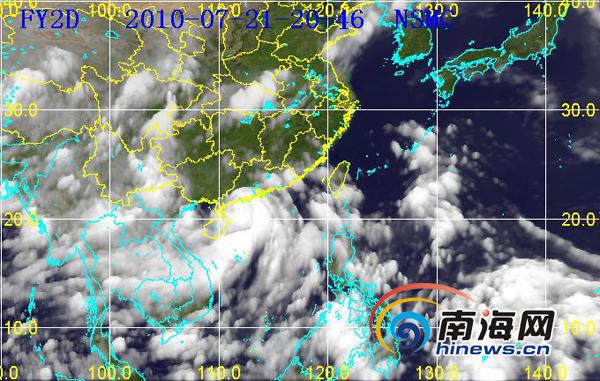 """暴""""灿都""""分时卫星云图(图片来源:海南省气象台)-2010年第3号图片"""