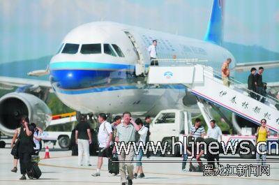 哈尔滨—伊春班机复航 南航a320执行航班任务