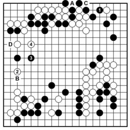追光者葫芦丝谱降b-叠床架屋 图二(变化图),陈耀烨九段执黑对邱峻八段,黑1后,白2