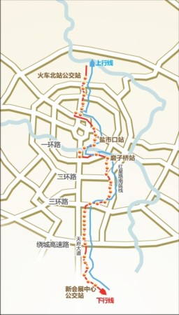 这条编号为298路的公交车,线路起止点分别是新会展和火车北站,从南到