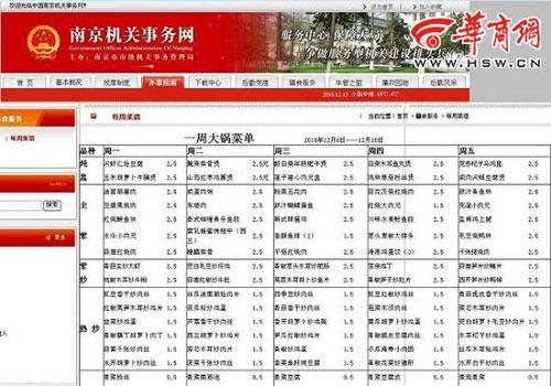 网曝南京市级机关食堂l菜谱 一周120个菜不重样