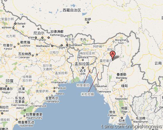 缅甸印度交界地区发生6.4级地震
