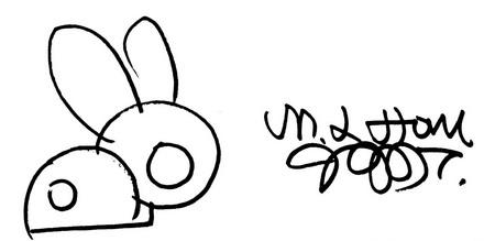 兔耳隐藏名字缩写 另外,公关公司这次为李嘉欣构思朱古力雪茄礼盒时,想到用兔子代表兔年出生的小JM,刚好手上有一幅由中国艺术家福娃之父韩美林送赠的手绘兔子,只是简单寥寥数笔的线条,已活灵活现兔子的动感,更凑巧的是,两只兔耳朵骤眼看来犹如两个J字(代表许晋亨及Jayden),而两个J字的兔耳组合就变了一个圆满的M字(代表李嘉欣)!