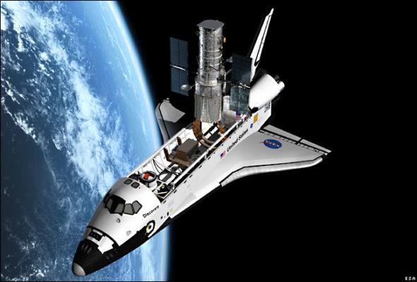 1990年,发现号航天飞机在轨释放哈勃空间望远镜