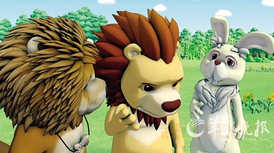 松狮狗忠忠和小动物们在大嘴巴森林里开心玩耍