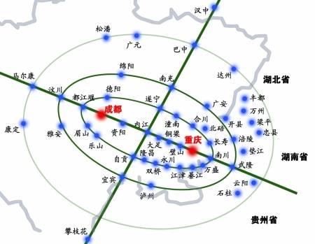 以重庆和成都为核心的区域辐射图商报图形 徐侨唯 制图片