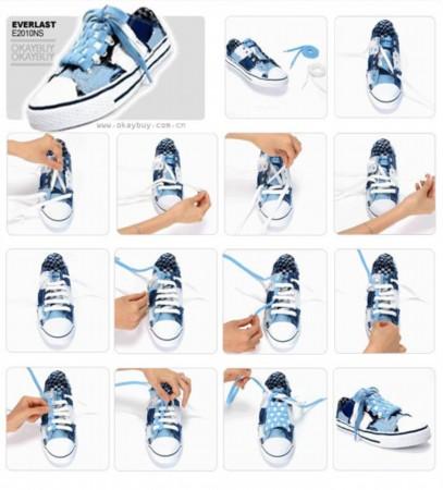 花式一字鞋带步骤图解