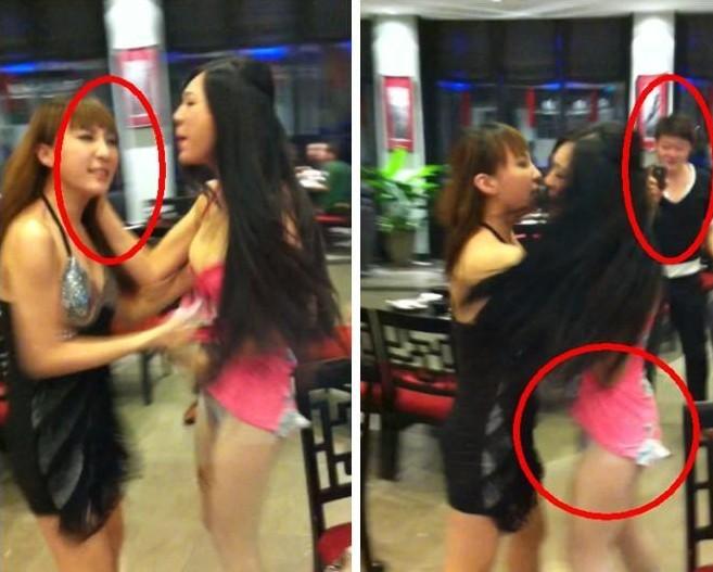 在打斗中将穿着暴露的美女朋友衣服撕扯下来