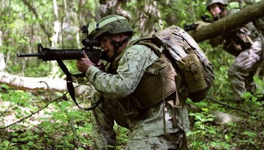 标准模块化战术背心相比,使用的布块更小,装甲更软.海军陆战高清图片