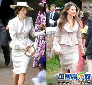 款的浅色礼服.戴安娜王妃依旧是走高贵路线,凯特选择的蕾丝质地