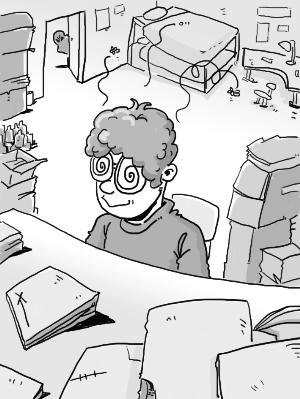 暑假生活四格手绘漫画