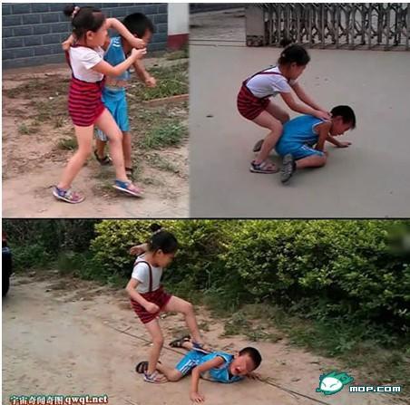 【图文】暴力女孩虐男孩:场面残忍