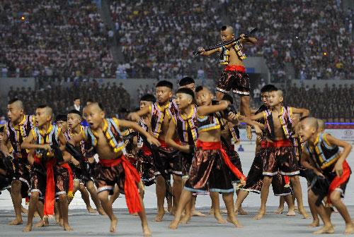 组图:少数民族运动会开幕式 文艺表演精彩纷呈图片