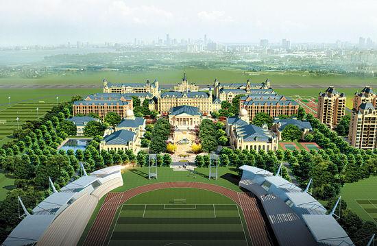 欧式园林风格,足球中心大楼