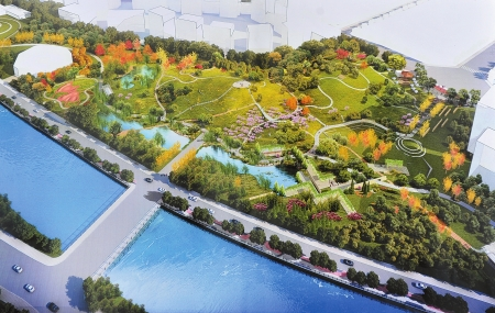 """根据设计方案,公园将借用沙河景观,以""""自然生态""""为主题,体现疏密有"""