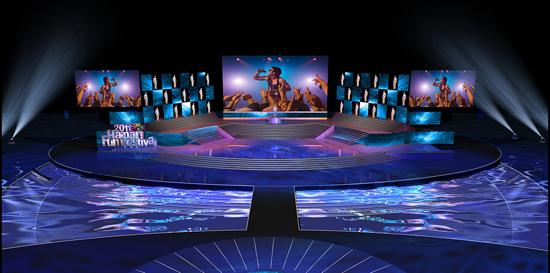 从舞美设计图中可以看到,三块大屏幕的中间又夹着两个舞台,高空舞台