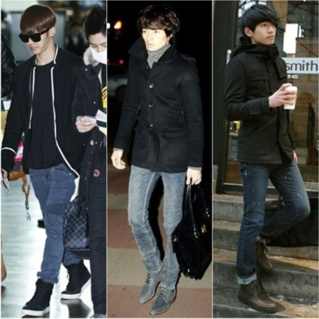 黑色运动鞋搭配裤子