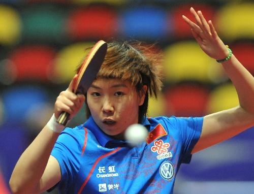 乒乓球亚锦赛女单赛况 李晓霞比赛中回球