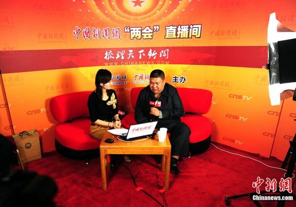 3月10日,全国政协委员毛新宇在人民大会堂二层的中国新闻网直播间