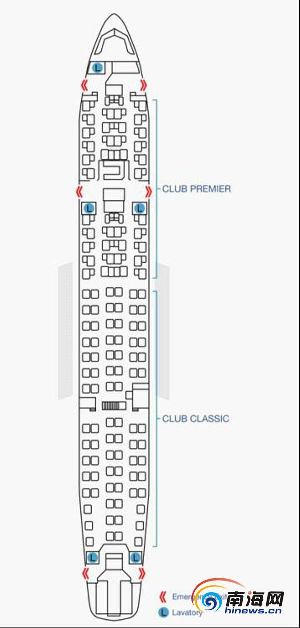 空中巴士A330-200全商务舱型客机座位表(海口美兰国际机场供图)   南海网3月30日消息(南海网记者 符泽亢 通讯员林一棉 冯丽文)3月29日下午,南海网记者从海南省海口美兰国际机场获悉,为助力博鳌亚洲论坛年会,香港航空全球首架A330-200全商务客机,计划于3月31日至4月4日执飞香港-海口航班。   据悉,该飞机于今年3月7日起正式投入运营,每天一班直航往返香港与伦敦。贵宾式的飞行享受,是这架飞机服务航线的亮点。每架客机的客舱均引进CLUB PREMIER 及CLUB CLASSIC两种座