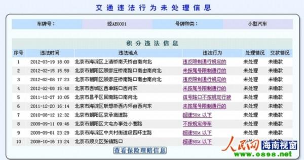 北京交管局网站显示的该车违章信息