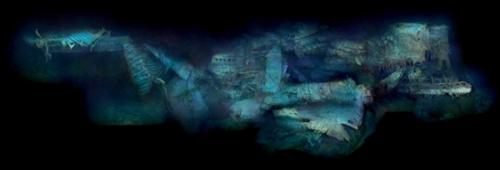 欣赏 泰坦尼克号/侧面轮廓图显示,泰坦尼克号破碎的船尾表明它沉入海底时受到了...