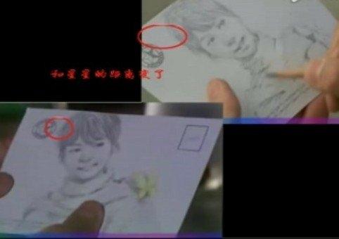 雷人/男主角在街边为女主角画了幅素描,两幅图有些地方不太一样,...