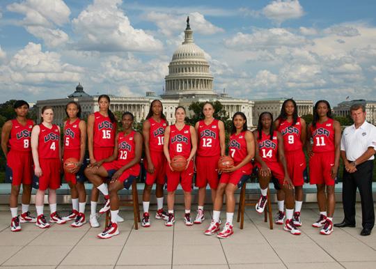 世界 篮球/美国男子篮球队照片(左至右)