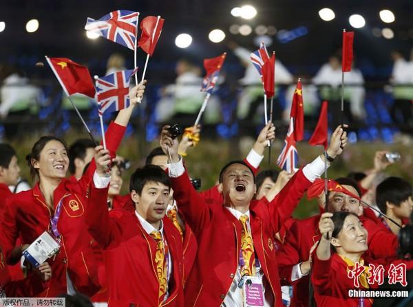 间7月27日,2012年伦敦奥运会,开幕式隆重举行.图为中国运动员图片