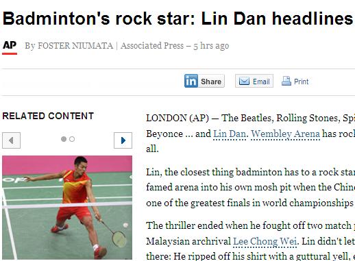美媒 中国奥运会选手林丹 羽毛球界的摇滚明星