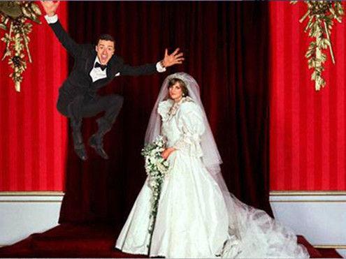 戴安娜婚礼-贾斯汀搞怪婚照遭恶搞 一跃飞太空