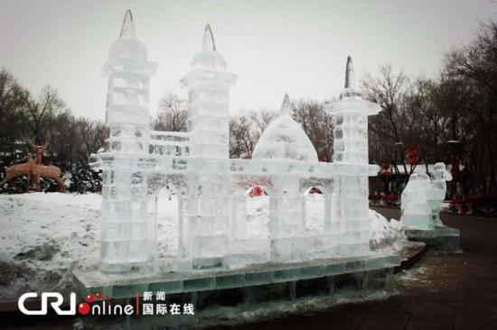 乌鲁木齐红山公园60座精美冰雕陆续亮相