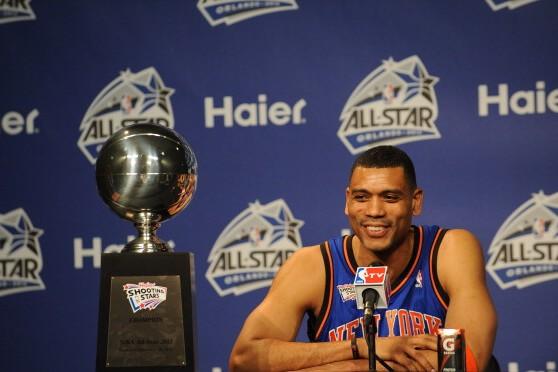 阿兰 德克斯特/纽约队在2012NBA全明星周末混合投篮大赛夺冠,成员分别是当时...