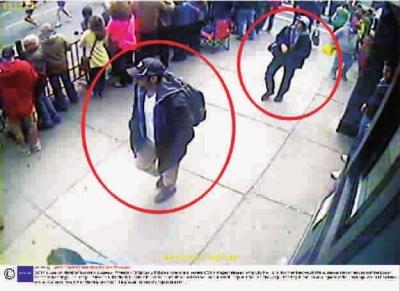 监控 美国/图为美国FBI公布的监控拍下的疑犯图像。