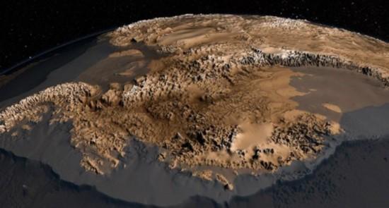新南极州冰盖下地表结构图   3000多万年以来,南极洲的山脉一直被几英里厚的冰雪覆盖不为人知。然而,NASA近期绘制出这些山脉的地形图Bedmap2。这项成果原型是10年前英国顶尖环境研究中心BAS所绘制的Bedmap。   相比之下,Bedmap2的准确度更高、分辨率更清晰、覆盖面更广泛。此外,Bedmap2还更新了对南极基岩深度、最低点、冰层厚度的估计数据。   有关科学家称,Bedmap2对科学家冰盖建模意义重大。目前世界上有两大冰盖南极冰盖和格陵兰岛冰盖。建立冰盖模型有助于研究气温和海洋温