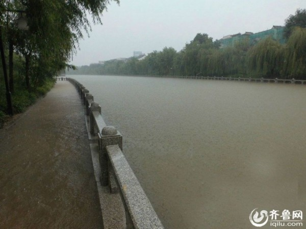 聊城大雨:持续强v大雨滑板乘皮划艇街头捕鱼忙市民蜡块图片
